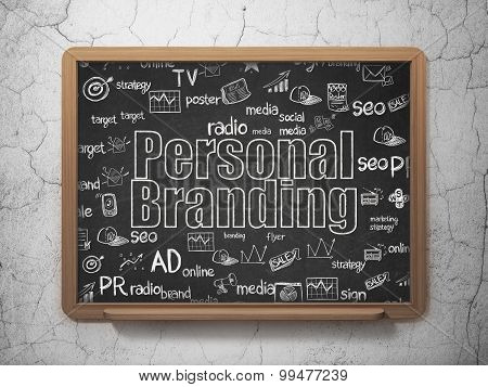 Advertising concept: Personal Branding on School Board background