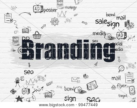 Advertising concept: Branding on wall background