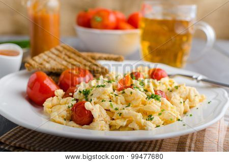 Scrambled Eggs With Baked Tomatoes And Chives, Panini Scrambled Eggs With Baked Tomatoes