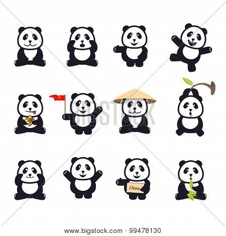 set of cute funny cartoon pandas