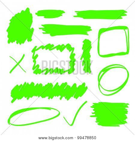 Green highlighter marker elements set