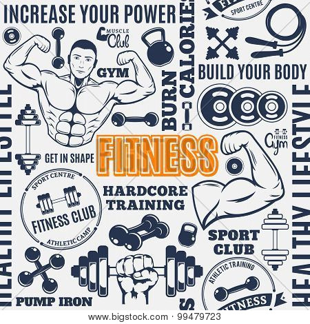 Typographic Vector Fitness Gym Seamless Pattern Or Background