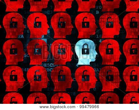 Finance concept: head with padlock icon on Digital background