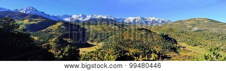 Panoramic Alpine Scenery Of Colorado During Foliage Season