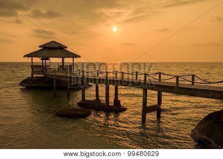Bridge On Beach In Sunset And Sea Wave In Koh Kood , Thailand