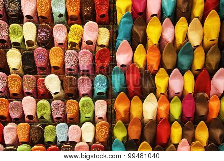 Colourful babouches in Marrakech