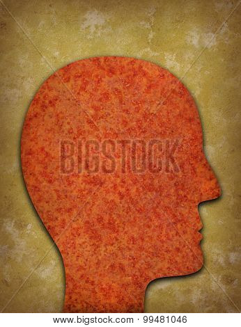 Rusty Head Silhouette Against Yellowed Background