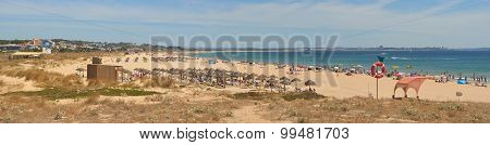 Panorama of the Large beach at Lagos Portugal.