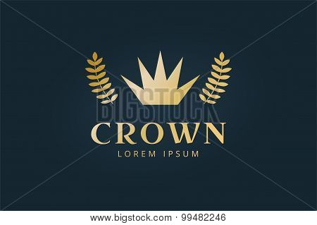 Crown abstract logo vector template.