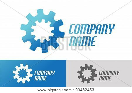 Gear vector logo icon template. Machine, progress, teamwork