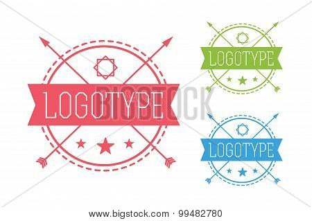 Hipster modern circle thin style  logo