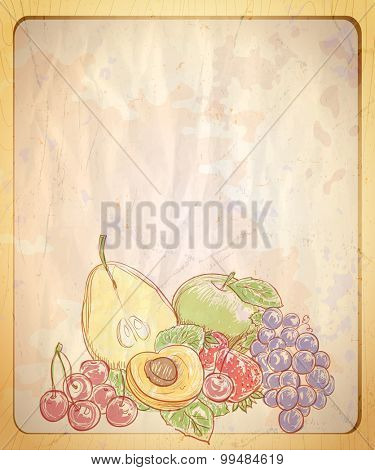 Vintage style empty paper backdrop with hand drawn graphic illustration of assorted fruits.