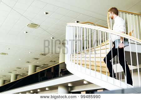 Business Visionary Represented By A Man Climing Stairs