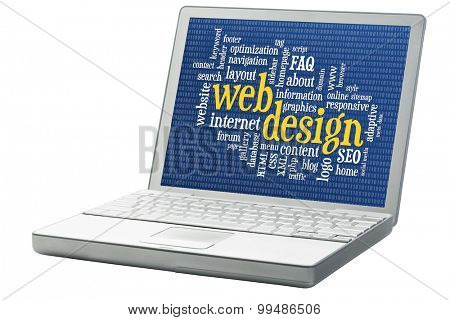 web design and development word cloud with binary background on an isolated laptop