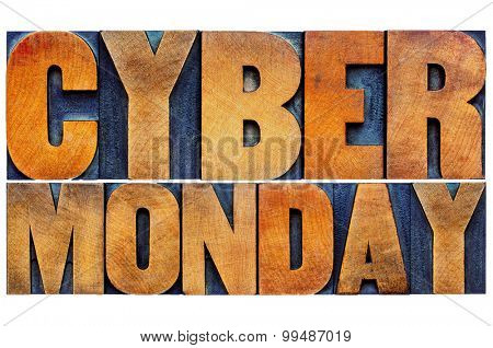 Cyber Monday - online shopping and marketing concept - isolated text in letterpress wood type printing blocks
