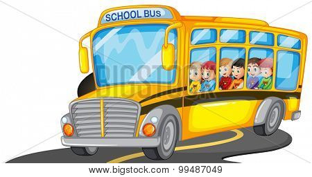 Boys and girls riding in school bus illustration