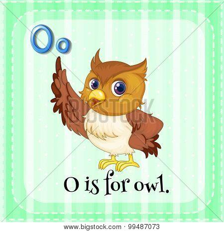 Alphabet O is for owl illustration