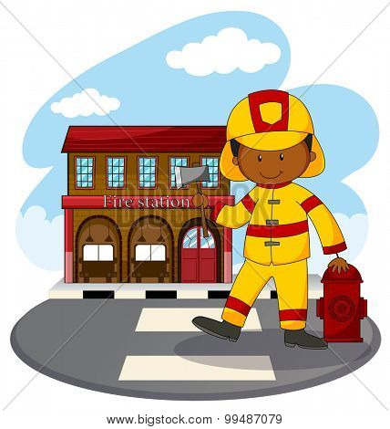 Fire fighter and fire station illustration