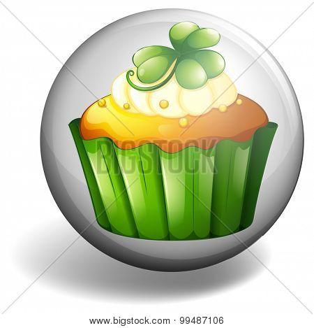 Cupcake on round badge illustration