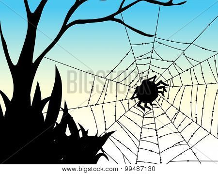 Silhouette spider on web illustration