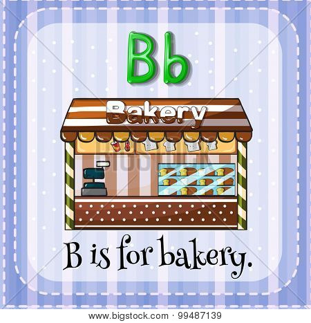 Flashcard B is for bakery illustration