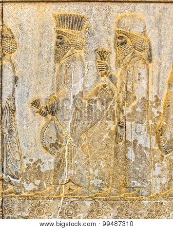 Persian noblemen relief detail Persepolis