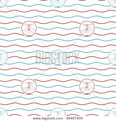 Lighthouse, Seamless Pattern