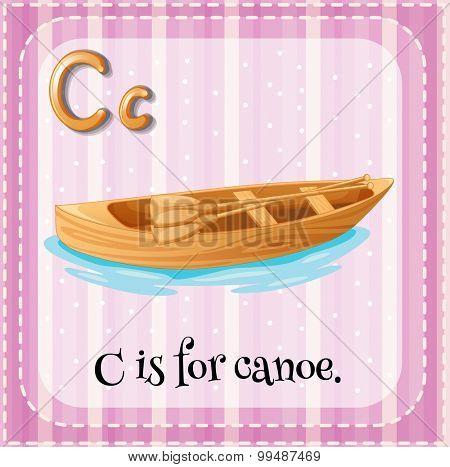 Flashcard letter C is for canoe illustration