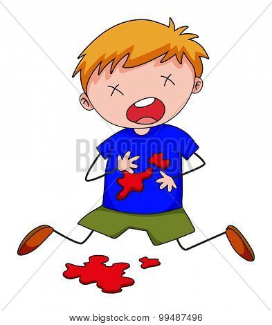 Little boy with blood stain on shirt illustration