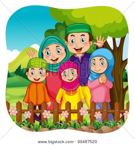 Muslim family in the park illustration