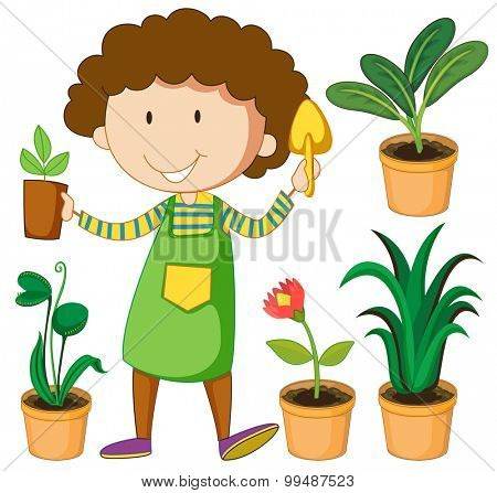 Gardener with potted plants illustration