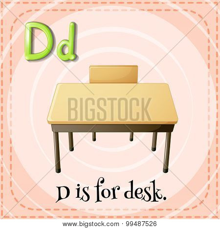 Alphabet D is for desk illustration