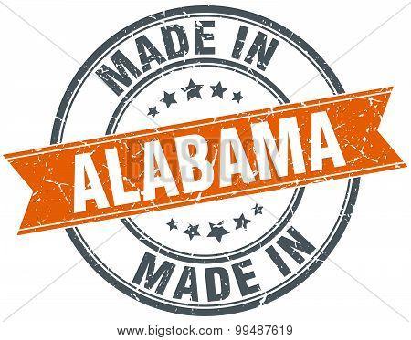 Alabama Orange Grunge Ribbon Stamp On White