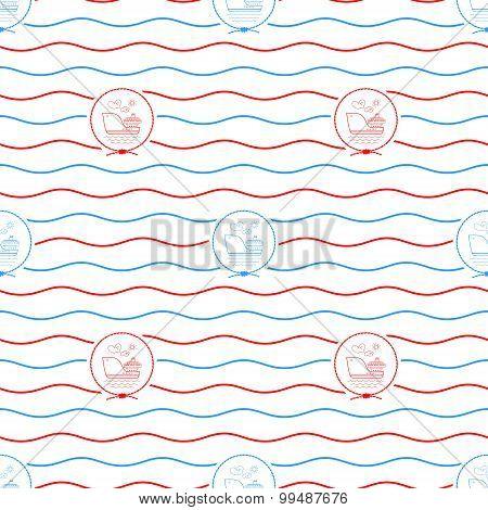 Cargo Ship, Seamless Pattern