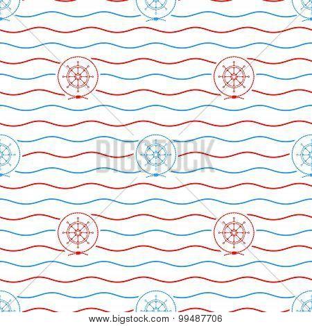 Ship's Wheel , Seamless Pattern
