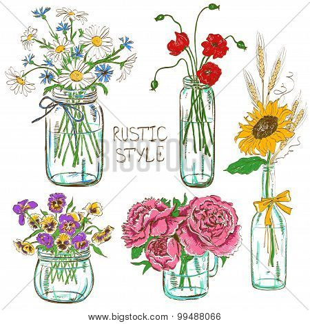 Set Of Mason Jars With Flowers.