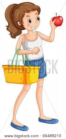 Woman shopping fresh ingredient illustration