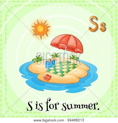 Alphabet S is for summer illustration