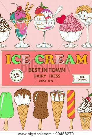 Colorful Cartoon Ice Cream Poster Design.