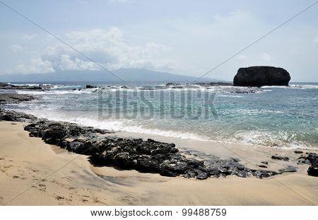 Rock Barrier On Beach
