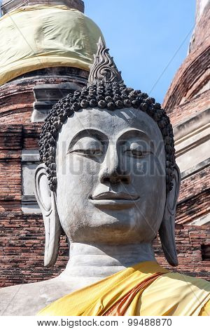 Head of Buddha statue close-up. Thailand