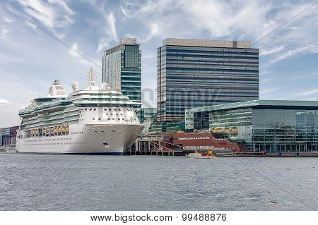 Cruise ship is at berth in the port of Amsterdam