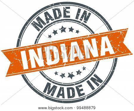 Indiana Orange Grunge Ribbon Stamp On White