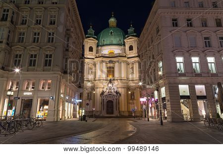 Catholic Church Of St. Peter At Night