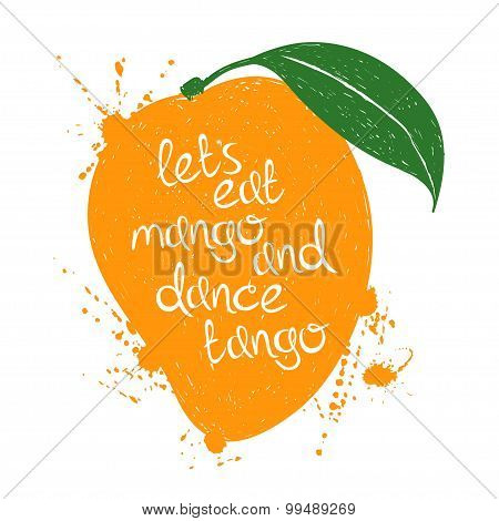 Illustration Of Isolated Orange Mango Fruit Silhouette.
