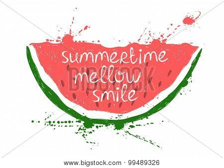 Illustration With Isolated Red Slice Of Watermelon.