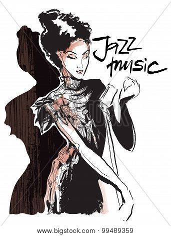 Musicans of jazz. Vector sketches