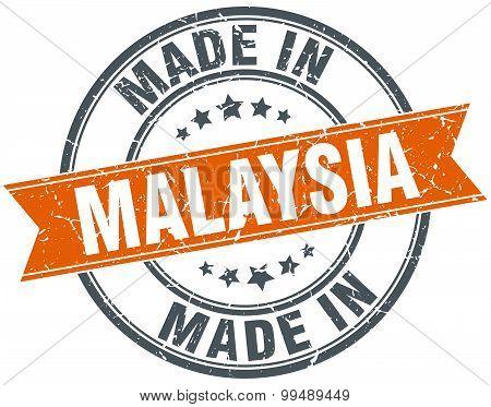 Malaysia Orange Grunge Ribbon Stamp On White
