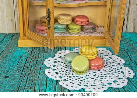French macaroons in cupboard