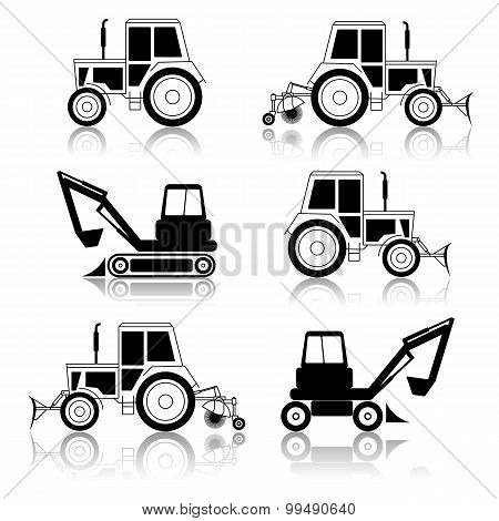 Vector Excavator End Bulldozer Isolated On White